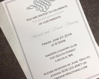 Silver Anniversary, wedding or shower invitation