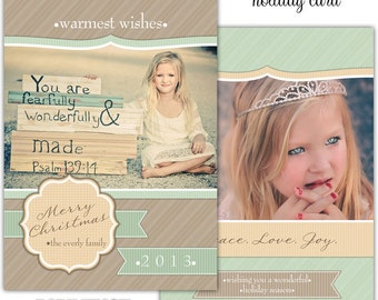 Instant Download - Photoshop PSD layered Templates for Photographers - Holiday card - Everly family design
