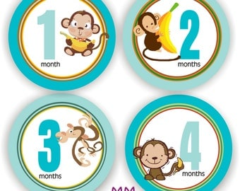 Baby Stickers - Baby Month Stickers - Baby Boy Monthly Stickers - Baby Shower Gift - Monkey Baby Month Stickers