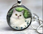 White CAT Pendant Round Art Photo with Ball chain Necklace - You choose frame and chain