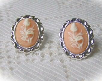White Rose Bud Post Earrings - White and Pink - White Rose - Silver - Floral Cameo Earrings - Flower Earrings - White Flower