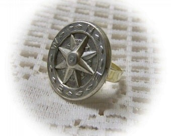 COMPASS ROSE Ring - Silver - Adjustable Ring - STEAMPUNK - Time Traveler