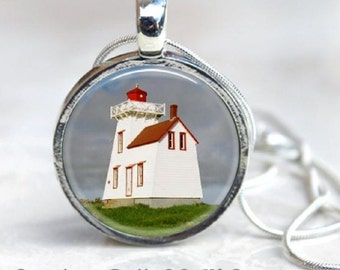 Canada Lighthouse Pendant - Rustico Prince Edward Island Lighthouse Necklace - Round Silver - Nautical
