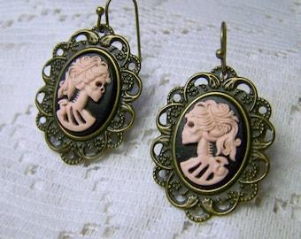 Skeleton Earrings - Pink Lady Goth - Bella Morte - Lady Death - Lolita