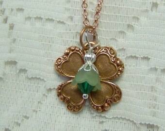 Rose Gold CLOVER Necklace, Lucky Charm, Irish jewelry, four leaf clover, LUCKY SHAMROCK pendant