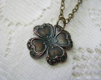 Verdigris Green CLOVER Necklace, Lucky Charm, Irish jewelry, four leaf clover, SHAMROCK pendant