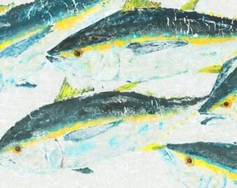 "Schooling Tuna - Gyotaku Fish Rubbing - Limited Edition Print (33"" x 17"")"