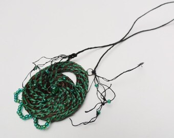 Luck O' The Irish, Horsehair Necklace, Horse hair Jewelry,Boho Chic, Green Beaded Necklace HH23