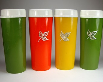 Free Shipping, Retro Thermal Tumblers, Tall, Orange, Yellow, Green with Silver Leaf, Set of Four,