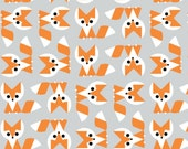 Cloud 9 Fabrics - Picture Pie by Ed Emberley - Fox in Gray Organic - By the Yard
