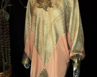 """FINAL SALE 1920s """"Bellasoiree Original"""" Art Deco Lame Tunic Chiffon with Beaded Floral Applique and Egyptian Tassels"""
