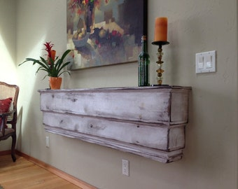 """French Country Wall Shelf Architectural Floating Wall Mount Ledge Chunky Beam Distressed Finish Wall Shelf Wooden Wood Shelf USA made 44"""""""