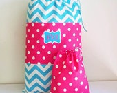 Kid's Overnight Bag and Matching Duffle in Bright Fun Colors, 16 x 24 With Drawstring Closure, Aqua Chevron and Hot Pink Dots