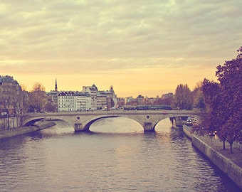 Paris Decor, Paris Sunset Photography Print, Seine River Paris Print Decor, Travel Photograph - Sunset Across The Seine (5x7)