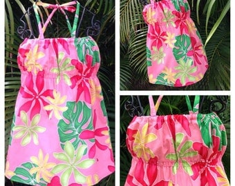 Girls Hawaiian Dress Coral Leilani Handmade