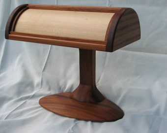 Solid wood Banker style desk lamp, wood shade
