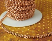 Solid Copper 3.7mm Links - Oval Cable Chain -By the Foot or Finished  - Made in the USA