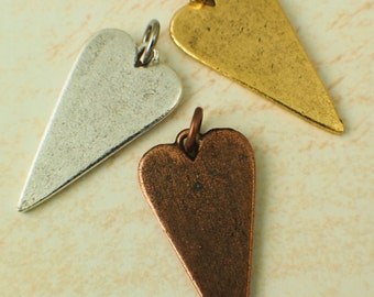 3 Heart Stamping Blanks, Charms, Pendants - Antique Silver, Gold or Copper - Made in the USA - With Handmade Jump Rings - 100% Guarantee