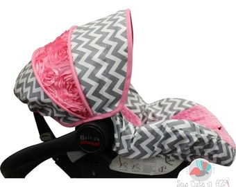 Infant Carseat Cover Grey Chevron with Bubblegum and Rose