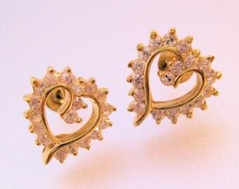 Heart Cubic Zirconia Vermeil Sterling Stud Earrings Pierced Vintage Jewelry Jewellery