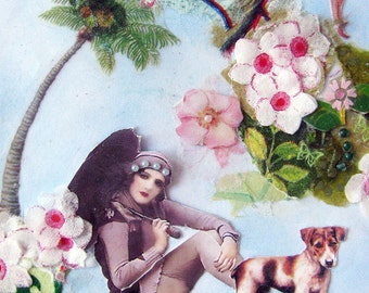 nature blue collage woman dog bird monkey home decor vintage feminine animal art tagt team
