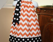 childrens Pillowcase dress halloween chevron thanksgiving orange, white, black, polka dot, baby girl todder dresses newborn to 4T - BlakeandBailey