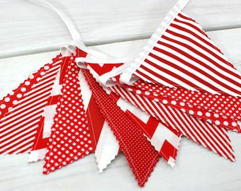 Bunting Banner, Photo Prop, Fabric Flags, Nautical Nursery Decor, Baby, Home Decor, Garland, Pennant - Red, Stripes, Chevron, Dots