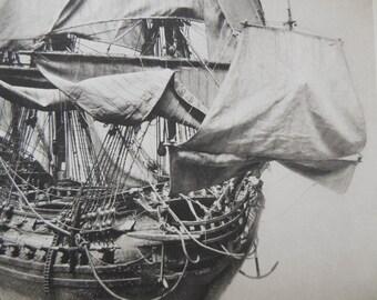 "Dutch Man of War Sailing Ship Model Offset Photo 9 7/8"" X 12 3/8"" suitable for framing"