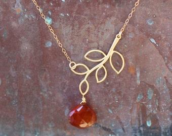 Open Leaf Carnelian Necklace