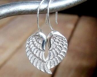 Angel Wing Earrings. Solid Sterling Silver, Fine Double Sided Detail, Minimalist Jewelry