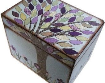 Recipe Box, Wedding Guestbook Box Purple-Green Tree Bridal Shower Box, Holds 5x7 Cards, Wedding Card Box, Storage Box MADE TO ORDER