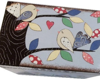 Recipe Box, Decoupaged, Large Handcrafted Kitchen Storage, Organization Box Holds 4x6 Cards Bird, Tree Design, Colorful, MADE TO ORDER