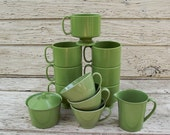 Vintage 13 Pc. Melamine Avocado Green Plastic Cups Creamer Sugar