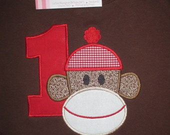 Sock Monkey Brown Birthday Shirt  Solid Red Number