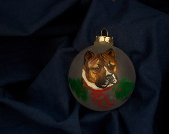 Pit Bull Standard Dog Breed Glass Ornament