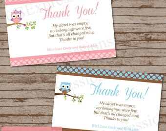 Polka Dot Owl Baby Shower Thank You Card