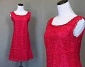 Vintage 60s Dress Crochet Floral Bright Pink Mini Party Dress Sleeveless Medium