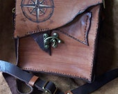 Autumn Brown Steampunk Leather Mens Bag Rustic and Rugged Cross Body - magickfetish