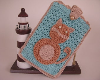 Best Buddy Pouch in teal and dark tan with cat aplique and fully lined