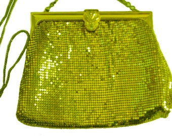 Vintage Whiting  and Davis Gold Mesh Purse with Rhinestone Clasp Art Deco