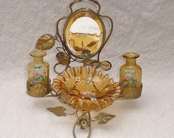 Antique French Paiais Royal Beveled Mirror Floral Painted Amber Glass Vanity Scent & Ring Tray Set