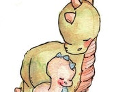 Children Art Print. My BABY DINO. 8X10 Print. Nursery Art Wall Decor