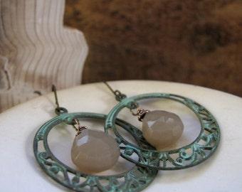 Verdigris Hoop Earrings, Vintage Inspired Earrings, Chalcedony Hoop Dangle Earrings - MILAN