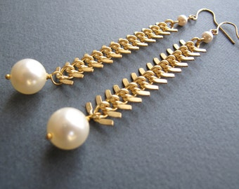 Gold Chain Earrings, Pearl Earing Dangle Chain, Trendy Gold Earrings - BALL AND CHAIN