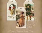 Vintage Christmas Image Tags Printable Instant Digital Download