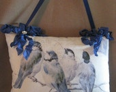 French Country, Blue Birds, Graphic Pillow, Hanging Pillow, Romantic, Cottage Chic, Ribbon