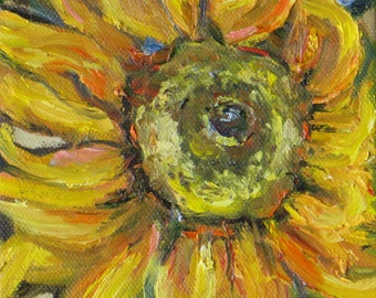 original sunflower oil painting, wall decor,home decor,impasto impressionism flower painting, wall decor, Janice Trane Jones, 5 x 7 canvas