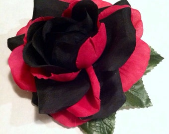 Black and Pink Rose Hair Accessory
