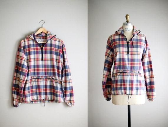 60s madras shirt / vintage 1960s plaid cotton anorak / Take