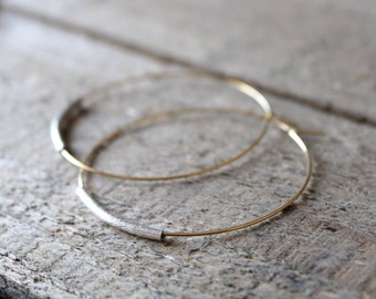 Hoop Earrings, Large Gold Plated Hoops with Sterling Silver, Gold Hoop Earrings, Available with French Hook
